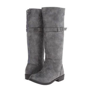 Madden Girl Frosted Gray Back Blue Zipper Boots